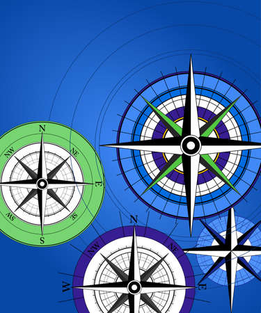 Abstract background with compass icons Vector