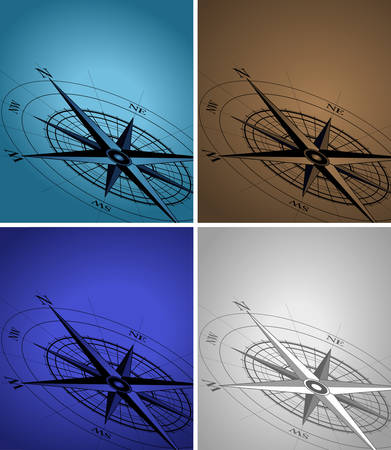 compass rose: Abstract background with a compass in various colors Illustration