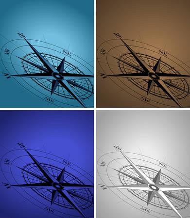 kompassrose: Zusammenfassung Hintergrund mit einem Kompass in verschiedenen Farben Illustration
