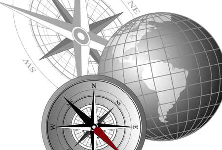 Abstract background with compass icons and globe Vector