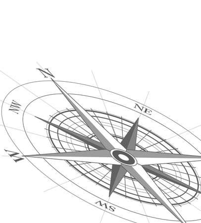 ir�ny: Compass icon on white background Illusztráció