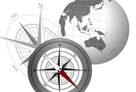 Abstract illustration with compass icons and globe Vector