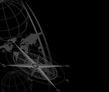 Résumé de fond avec l'icône de compas et la carte du monde