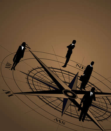 discovery: Abstract background with businessmen on compass icon