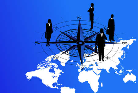 Abstract background with world map and businessmen on compass icon Vector
