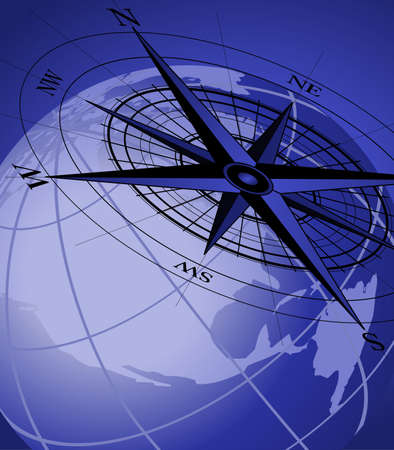 Abstract background with compass icon and world globe Illustration