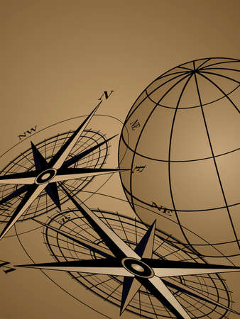 Abstract background with compass icons and world globe Vector