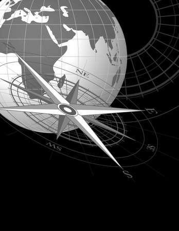 Abstract background with compass icon and world globe Vector