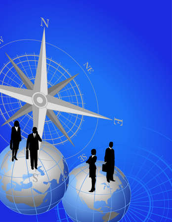 Abstract background with compass icon and businessmen on world globes Vector