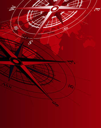 Abstract background with compass icons and world map