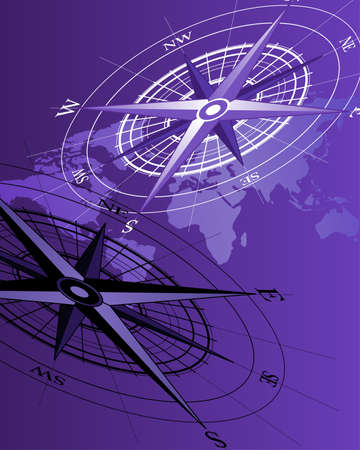 Abstract background with compass icons and world map Vector