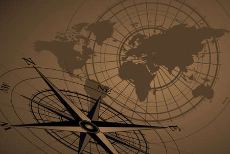 Abstract background with compass icon and world map