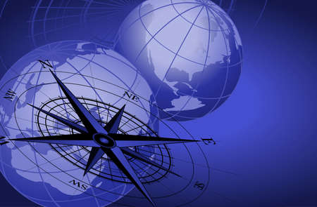 Abstract background with a compass and world globes Vector