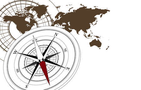 Abstract background with a compass and world map Vector