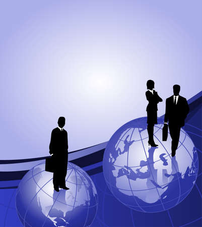 Background with businessman silhouettes on world globes and space for text Vector