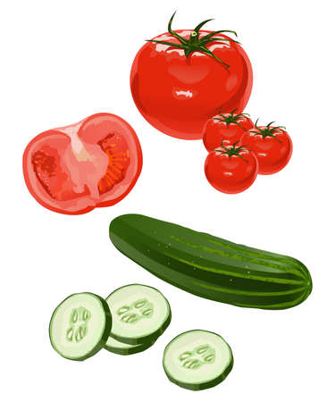 Clip-arts of tomato and cucumber Stock Vector - 4791952