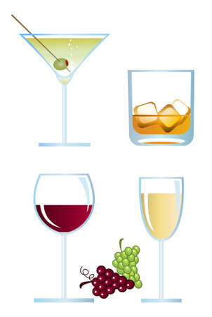 Clip-arts of alcoholic drinks Illustration