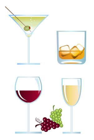 aperitif: Clip-arts of alcoholic drinks Illustration