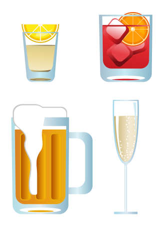 alcoholist: Clip-arts van alcoholische dranken  Stock Illustratie