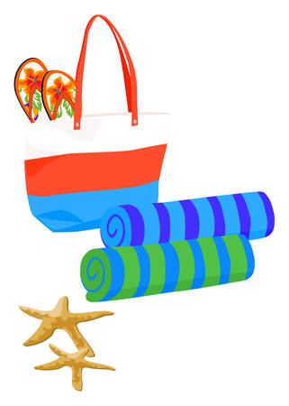 Beach Bag with Towels and Flip-flops Vector