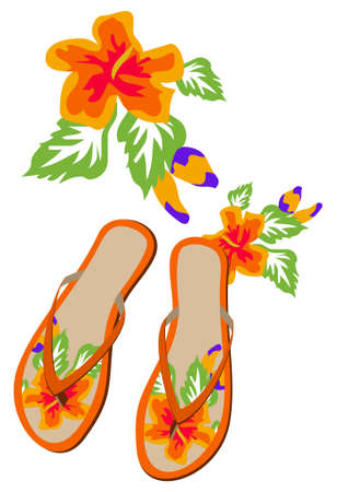 Flip-flops with Flower Texture Stock Vector - 5191218