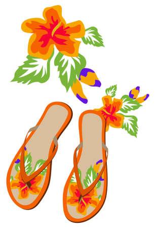 sandal: Flip-flops with Flower Texture