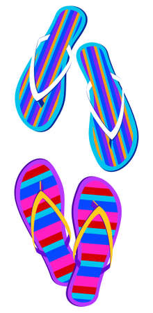 Striped Flip-flops on white background Vector