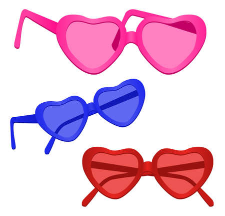 Heart-shaped Sunglasses on white background Vector