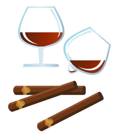 Clip-arts spirits and cigars  Vector