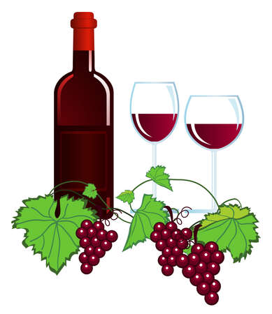 wine tasting: Clip-arts of wine and grapes