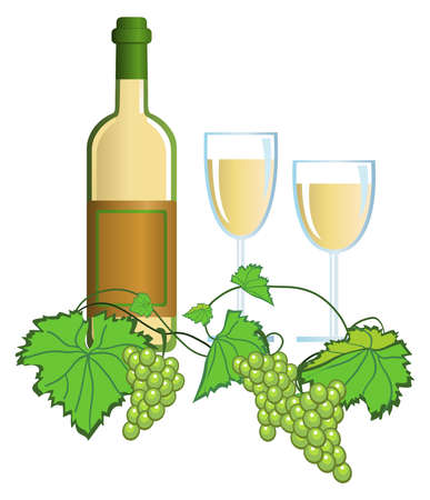Clip-arts of wine and grapes Vector