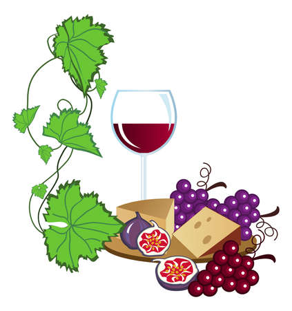 Clip-arts of wine, fruits and cheese Vector