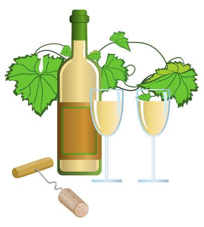 Clip-arts of wine and corkscrew  Vector