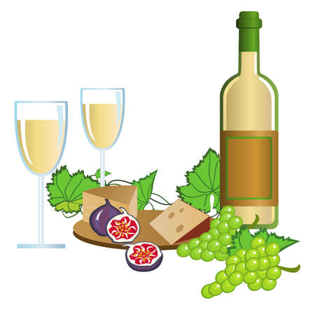 Clip-arts of wine, fruits and cheese