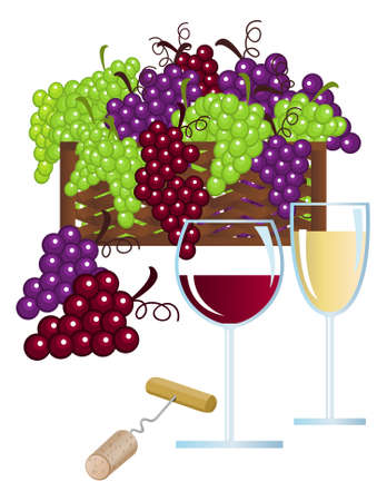 Clip-arts of wine, fruits and corkscrew Vector