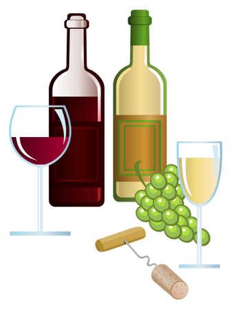 Clip-arts of wine, grape and corkscrew Vector