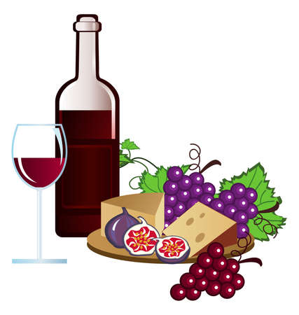 wine and cheese: Clip-arts of wine, fruits and cheese