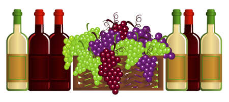 Clip-arts of wine and fruits Vector