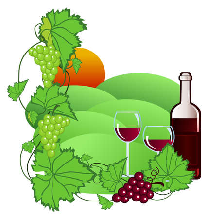 Clip-art of wine and vineyard Stock Vector - 5288187