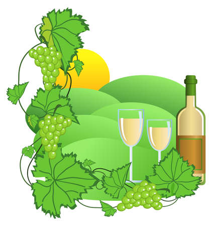 Clip-art of wine and vineyard Stock Vector - 5288190