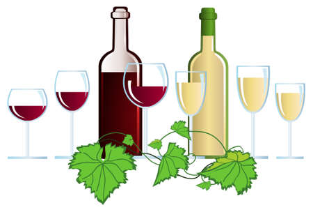glass of red wine: Clip-arts of wine and grape leaves