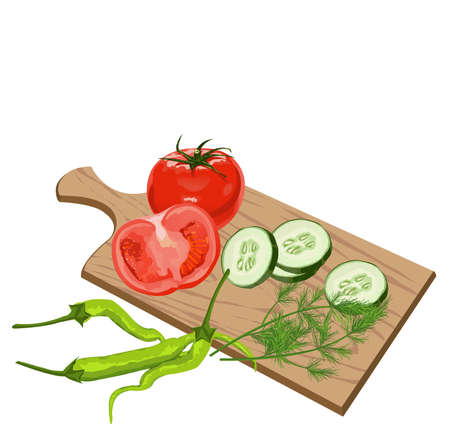 green leafy vegetables: Illustration of Vegetables on cutting board on white background