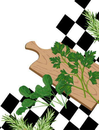 Illustration of Herbs on cutting board with white text space  Vector