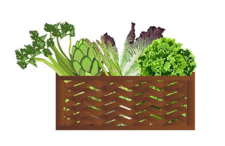 Illustration de légumes dans le panier sur fond blanc