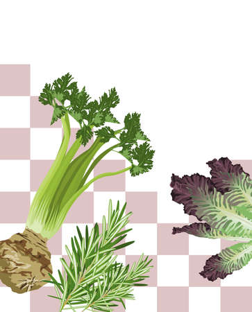 flavoring: Illustration of Mixed Vegetables with white text space