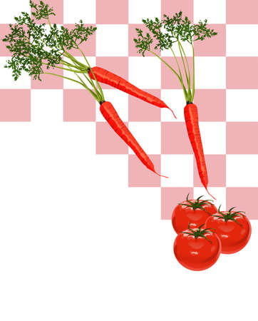 Illustration of Carrots and Tomatoes with white text space