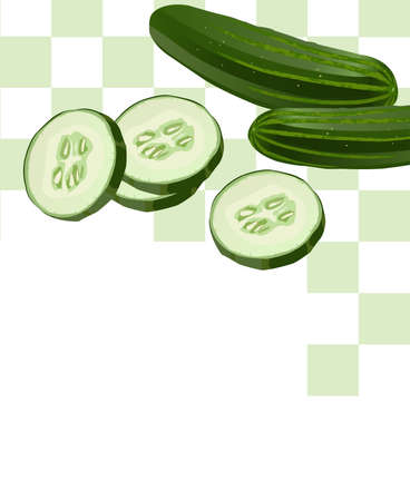 Illustration of Cucumber with Slices with white text space Stock Vector - 5404841