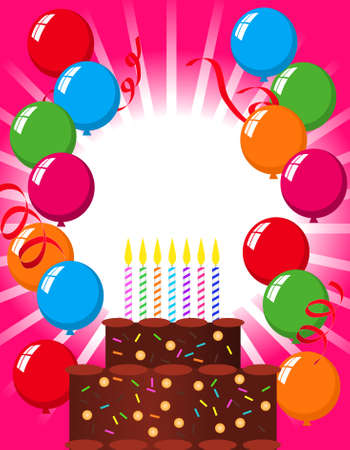 Illustration with a birthday cake and balloons Vector
