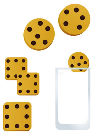 milk and cookies: Illustration of cookies and milk