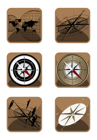 Vector Compass and World Icons on white background Vector